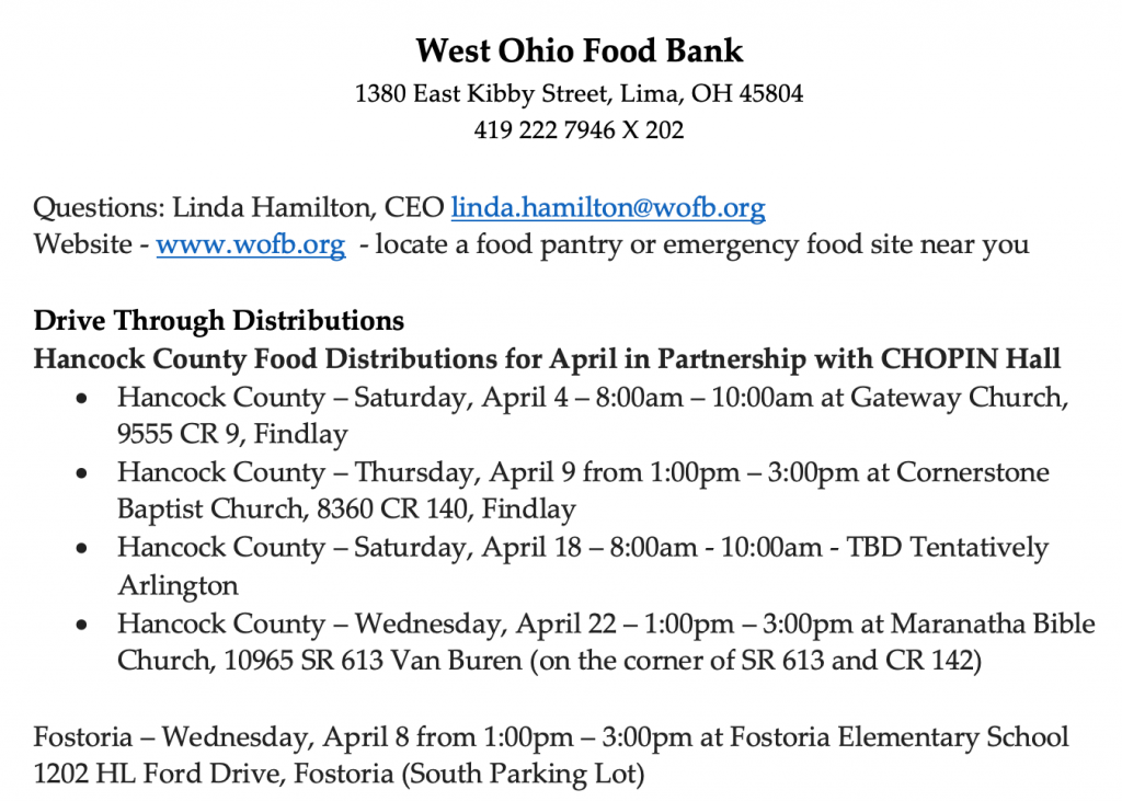 West Ohio Food Bank Information