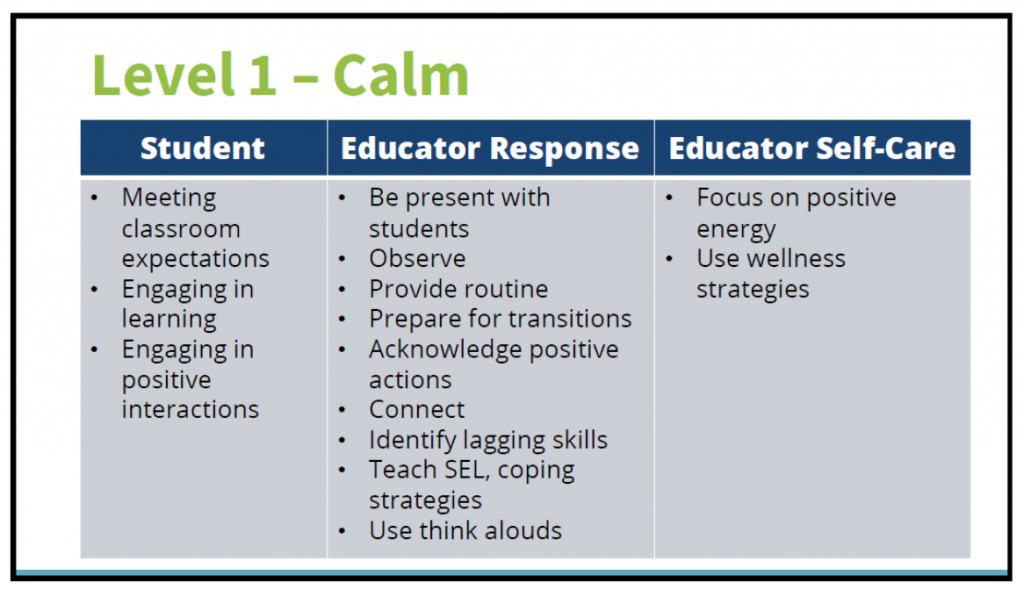 Level 1 Calm: Be present with students, observe, provide routine, prepare for transitions, acknowledge positive actions, connect