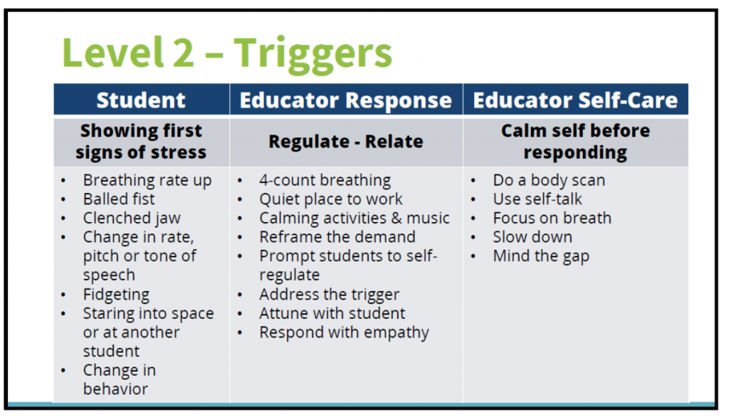 Triggers - 4 count breathing, quiet place, calming activities, address the trigger, respond with empathy