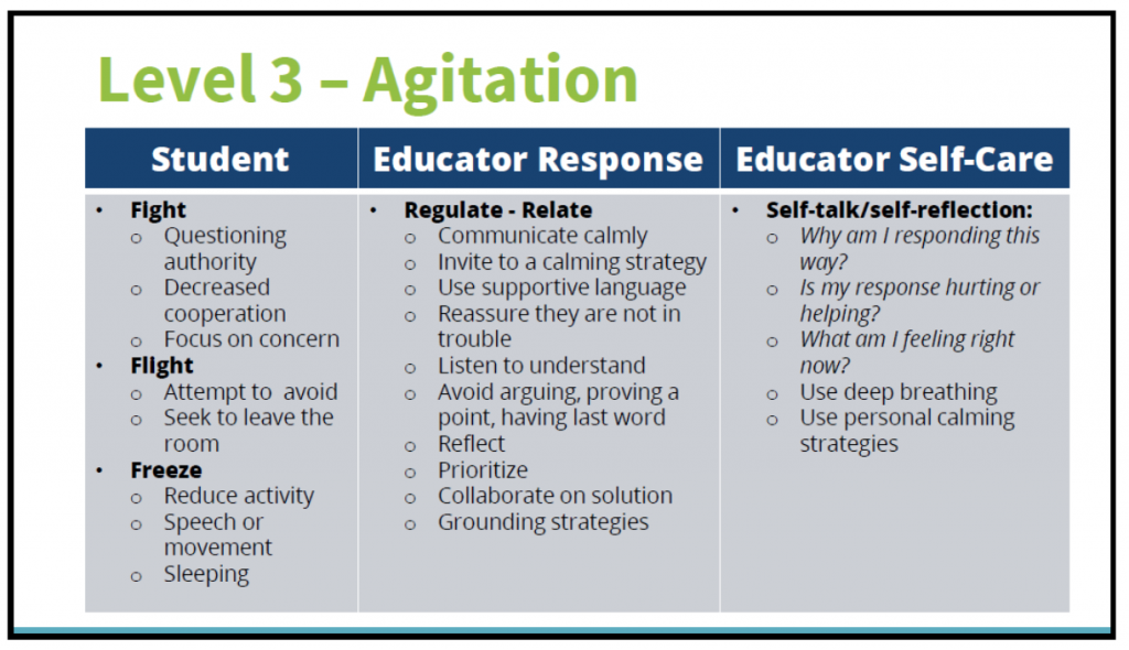 Level 3 - communicate calmly, reassure, listen, avoid arguing, reflect, prioritize, collaborate on student